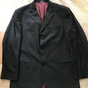 HAGGAR Men's Black Pinstriped Blazer Jacke…